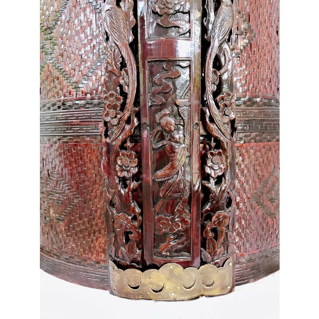Gold Large Chinese Wedding Basket Rattan & Carved Wood 3 Tiered For Sale - Image 8 of 11