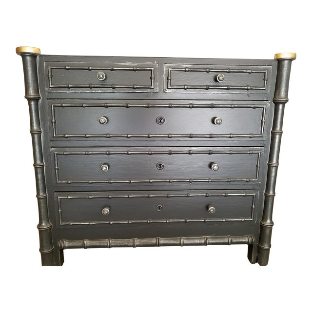 Vintage French Faux Bamboo Chest For Sale