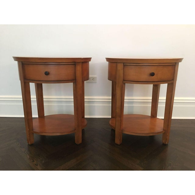 Wood single drawer oval bedside tables a pair chairish pottery barn farm style bedside tables dimensions 24w x 20d x 275 contemporary wood single drawer oval watchthetrailerfo