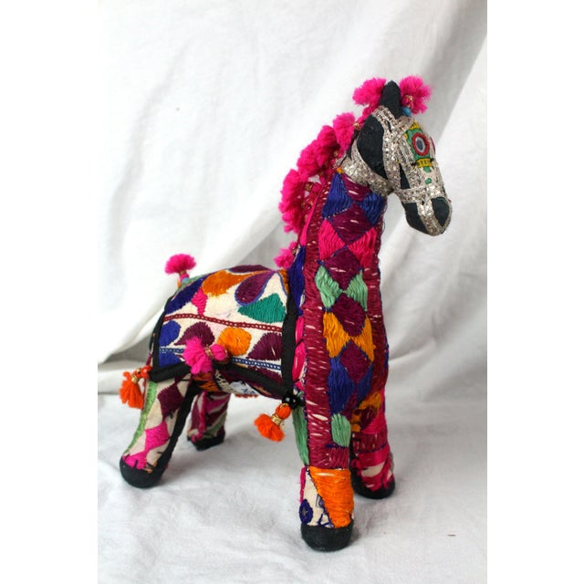 Unique textile embroidered and pink maned Indian Rajasthani horse with metallic accents. Made in the 1950s.