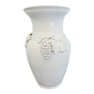 Italian White Glaze Terracotta Grape Leaf Vase For Sale