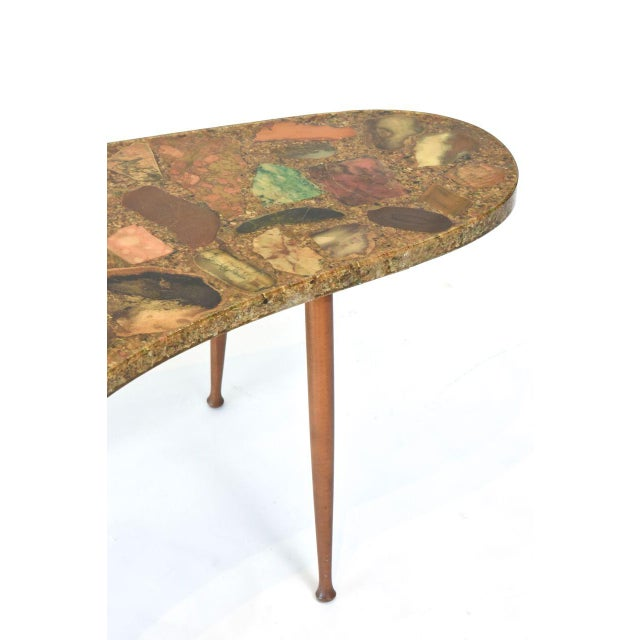 Aldo Tura Italian Modern Specimen Marble, Resin and Walnut Low Table, Aldo Tura For Sale - Image 4 of 10