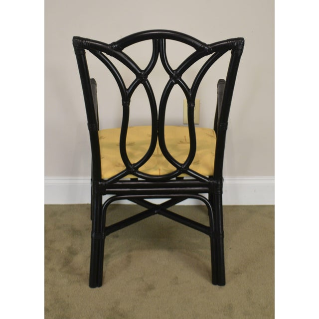 1990s McGuire Style Set 8 Black Rattan Bamboo Dining Chairs For Sale - Image 5 of 13