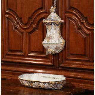 Early 20th Century, French Hand-Painted Wall Faience Lavabo Fountain From Rouen Preview