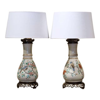 Pair of 19th Century French Porcelain and Brass Oil Table Lamps With Bird Decor For Sale