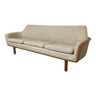 1960s Mid Century Modern Danish Beige Upholstered Teak Sofa