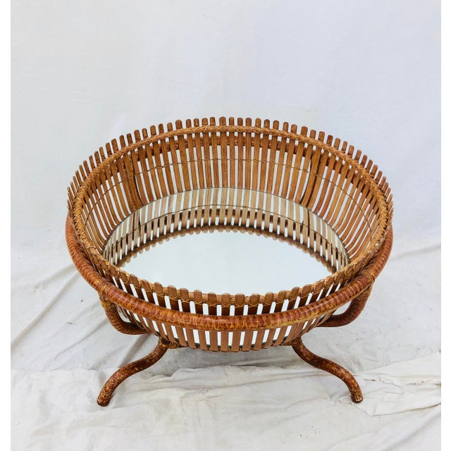 Vintage Rattan & Glass Top Coffee Table For Sale - Image 11 of 12
