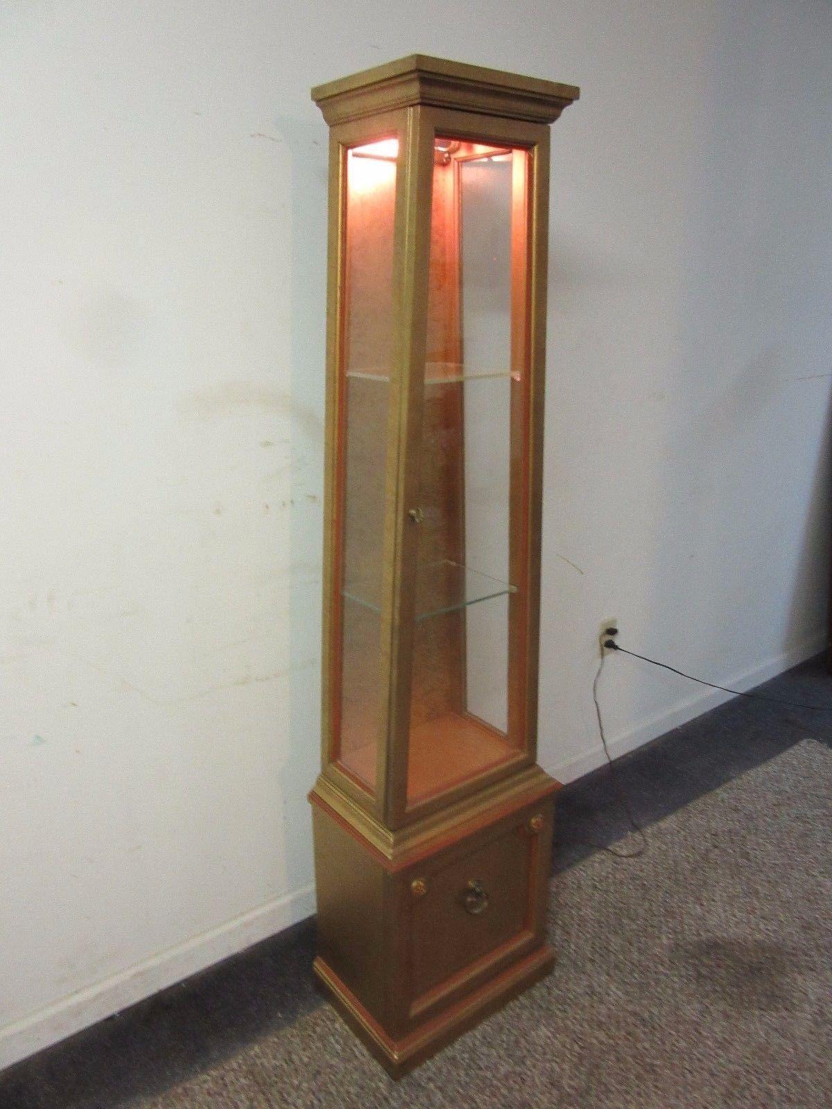 French Regency Gold Obelisk Lighted Curio Cabinet   Image 2 Of 10