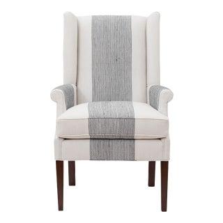 Abbeline Chair in Grey Pinstripe For Sale