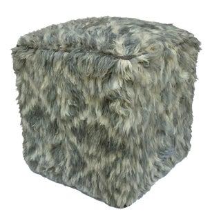 Arshs Davina Gray/Ivory Morrocan Wool Upholstered Handmade Ottoman For Sale