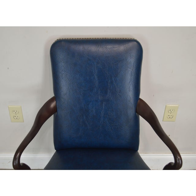 Blue Queen Anne Style Vintage Custom Quality Mahogany Pair Shepherd's Crook Armchairs (C) For Sale - Image 8 of 12