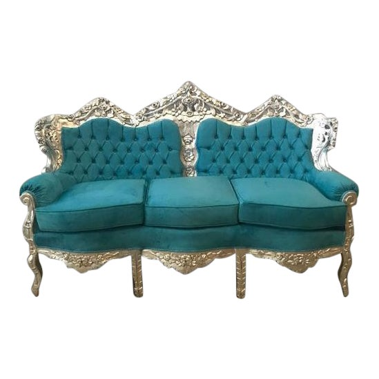 1940s Vintage Italian Baroque Rococo Style 3-Seater Sofa For Sale
