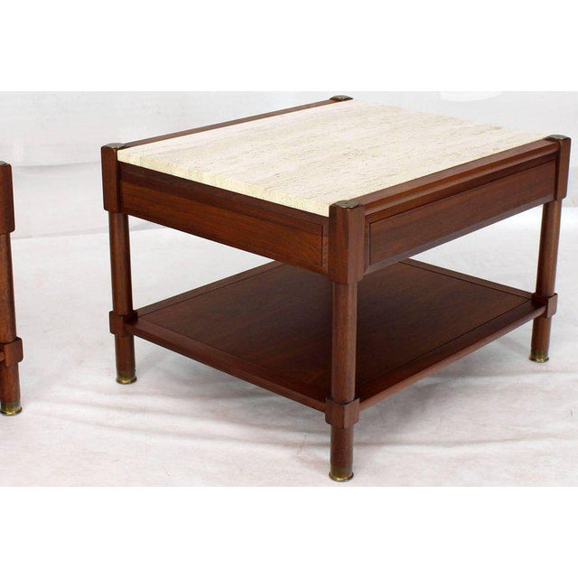 Pair of Travertine Tops One Drawer Oiled Walnut End Side Tables For Sale - Image 12 of 13