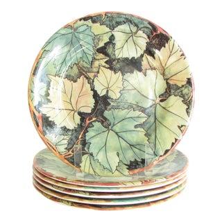 Vintage Gien France Feuillage Fall Leaves Salad Plates - Set of 6 For Sale