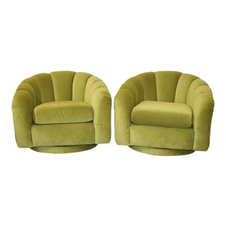 Milo Baughman Style Green Velvet Channel Swivel Chairs - a Pair
