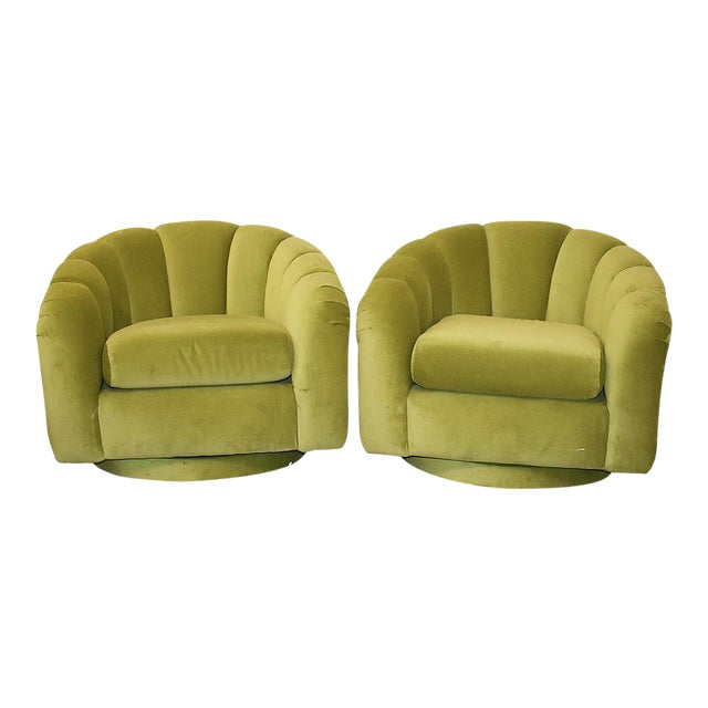 Milo Baughman Style Green Velvet Channel Swivel Chairs - a Pair - Image 1 of 5