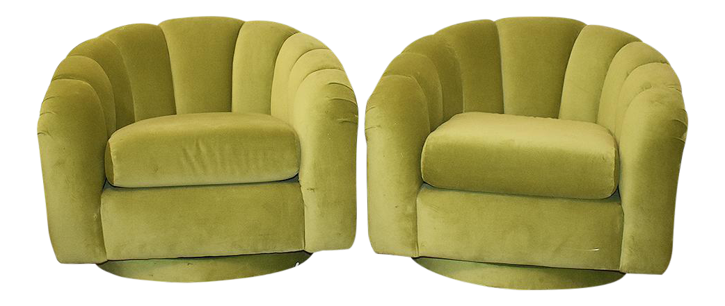 Milo Baughman Style Green Velvet Channel Swivel Chairs   A Pair   Image 1  Of 5