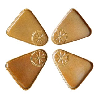 Bennington Potters Triangle Snack Plates - Set of 4 For Sale