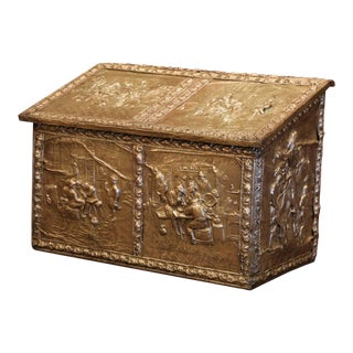 19th Century French Repousse Copper and Wood Box With Tavern Scenes For Sale