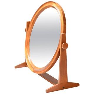 Large Round Teak Mirror by Pedersen & Hansen For Sale