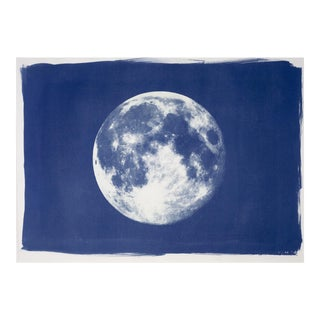 Full Moon Cyanotype Print on Watercolor Paper For Sale