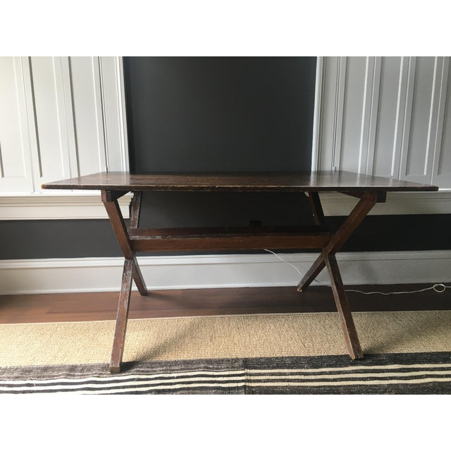 This antique trestle table has terrific patina. Nice proportions make it an ideal desk, work table, or breakfast table....