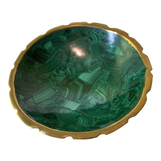 Malachite Bowl With Brass Rim For Sale
