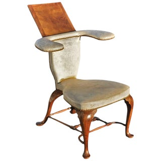 Well Proportioned Georgian Mahogany Reading or Cockfighting Chair For Sale