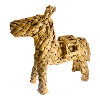 1940's Vintage Mexican Folk Art Hand Woven Straw Burro For Sale