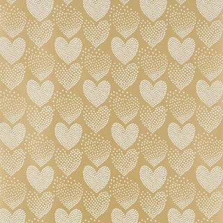 Sample - Schumacher Heart of Hearts Wallpaper in Ivory & Gold For Sale