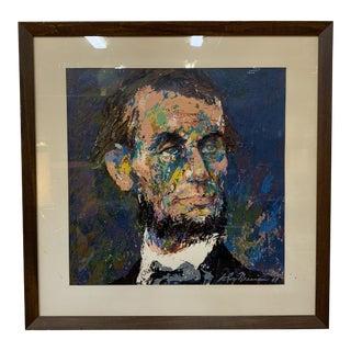 Vintage Mid Century Modern Leroy Neiman Abraham Lincoln Framed Serigraph, C 1968 For Sale