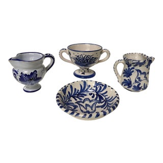 1950's Italian Assortment- Blue & White Hand Painted Pottery/Ceramic - 4 Pc. For Sale