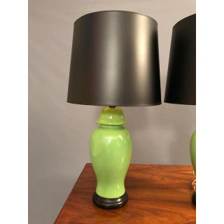 Mid-Century Green Porcelain Table Lamps - a Pair Preview