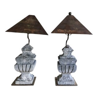 Antique Early 20th Century Composite Stone Baluster Table Lamps in Axel Vervoordt Style - a Pair For Sale