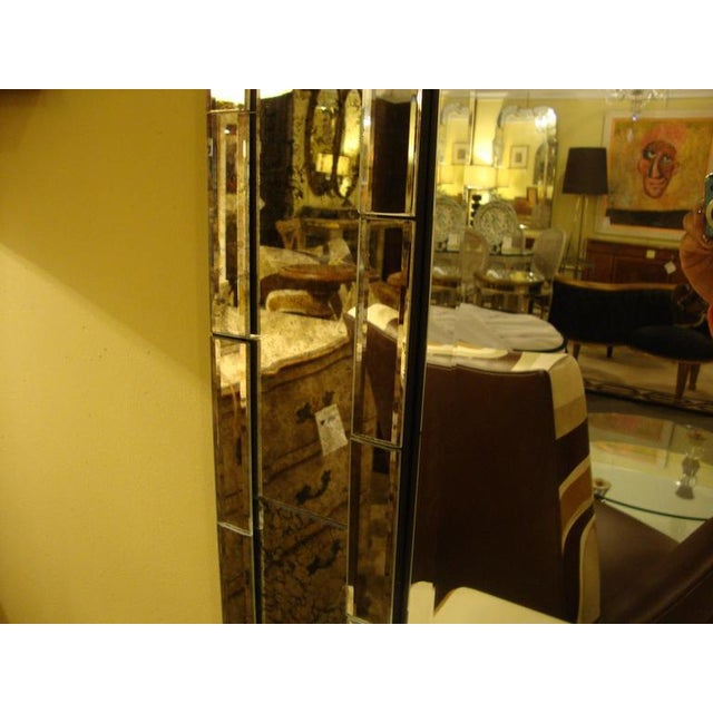 1980s Art Deco Mid- Century Style Brick Framed Distressed Wall Mirrors - A Pair For Sale - Image 5 of 6