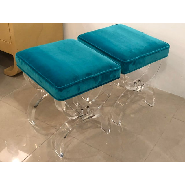Vintage Hollywood Regency Blue Velvet Lucite X Benches Stools -A Pair For Sale In West Palm - Image 6 of 13