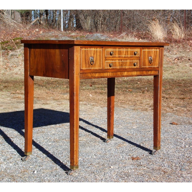 Antique Sheraton Federal Walnut Petite Buffet Server Cart Entry Table Console For Sale - Image 4 of 13