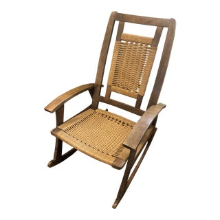 Mid-Century Danish Style Rocking Chair With Cord Seat and Backrest - Add a Boho Chic Touch For Sale