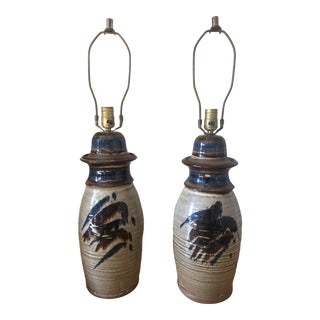 Large Mid Century Brown and Blue Glaze Ceramic Lamps - a Pair For Sale