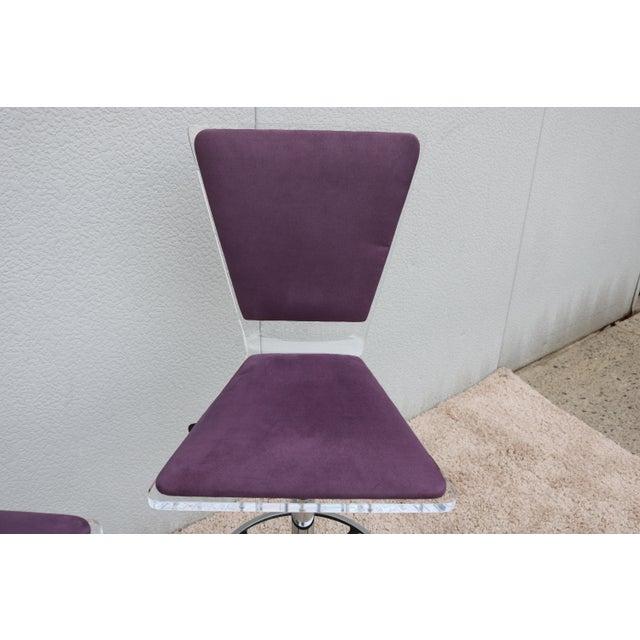 Purple Purple Suede & Acrylic Shlomi Haziza Barstools - A Pair For Sale - Image 8 of 13