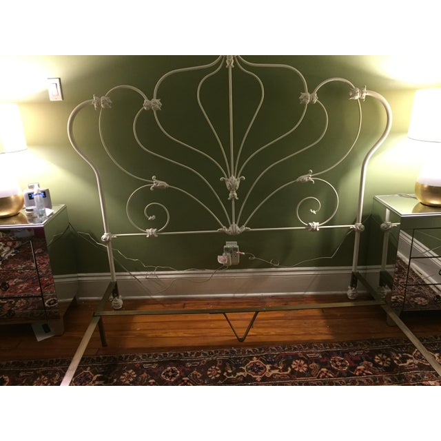 Antique White Rod Iron Double or Queen Bedframe - Image 6 of 7