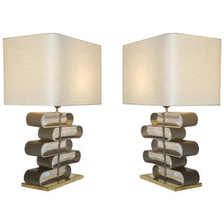 Italian Modern Brass and Bronze Murano Glass Architectural Table Lamps - a Pair For Sale