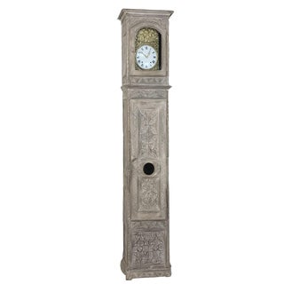 19th Century French Gothic Whitewashed Long Case Clock For Sale