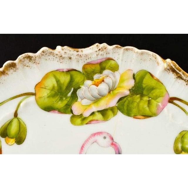 Ceramic Set of 11 Antique German Flamingo Plates For Sale - Image 7 of 8
