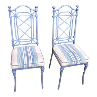 Meadowcraft Faux Bamboo Chairs W/ Scalamandre Fabric, Pair For Sale