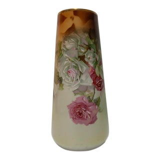 1900s Carl Tielsch Altwasser Germany Hand Painted Porcelain Vase For Sale