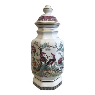 Chinoiserie Hand Painted Italian Ginger Jar For Sale