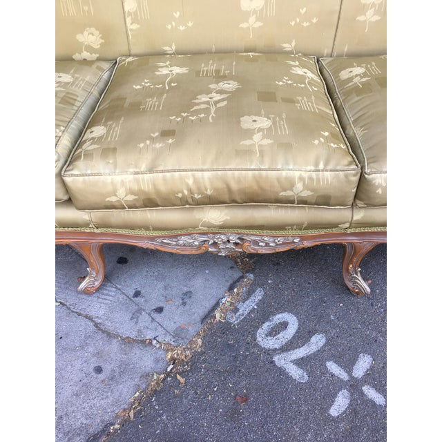 Antique French Olive Green Silk Upholstered Carved Wood Sofa For Sale - Image 9 of 10
