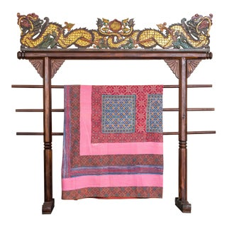 Ajrak Quilted Throw Pink For Sale