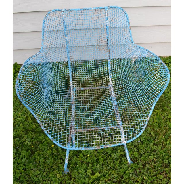 Russell Woodard Russell Woodard Sculptura Wire Patio Chairs, Set of 4, in As-Found Sea Sky Blue For Sale - Image 4 of 13